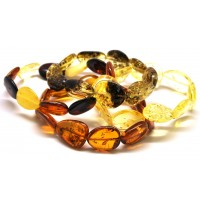 Lot of 4 Baltic amber big beads bracelets