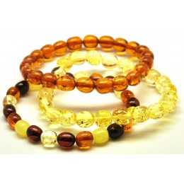 Lot of 3 olive Baltic amber bracelets