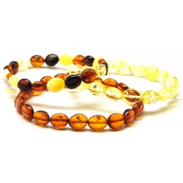 Lot of 3 button shape Baltic amber bracelets