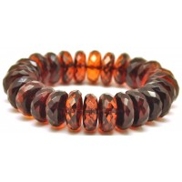Cherry faceted elastic Baltic amber bracelet