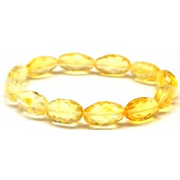 Faceted olive shape Baltic amber  bracelet