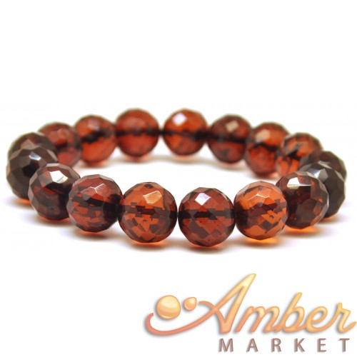 Baroque beads faceted cherry Baltic amber bracelet