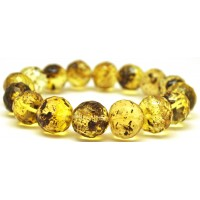 Baroque beads faceted green Baltic amber bracelet