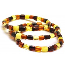 Lot of 3 barrel shape Baltic amber bracelets
