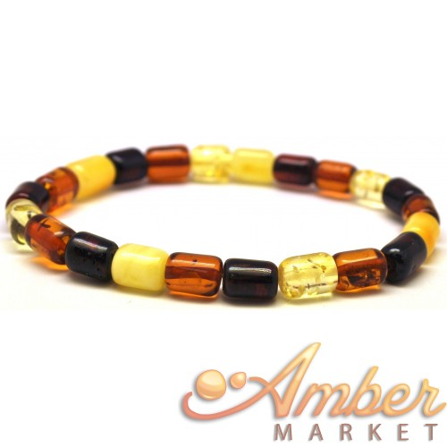Multicolor barrel shape Baltic amber bracelet