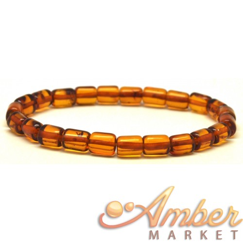 Cognac barrel shape Baltic amber bracelet