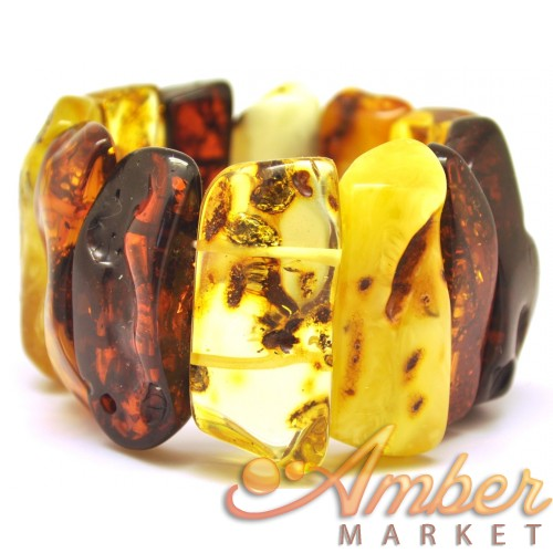 Natural shape multicolour Baltic amber bracelet