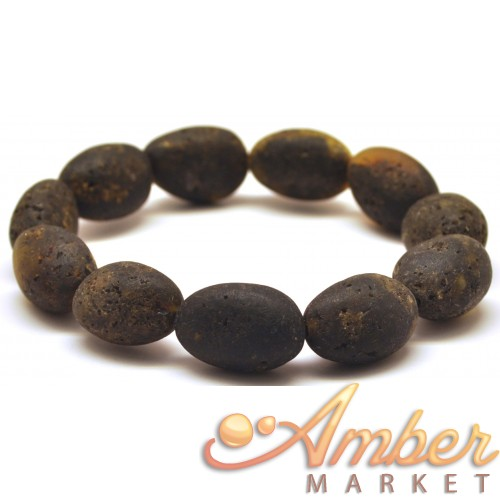 Raw healing big beads Baltic amber bracelet