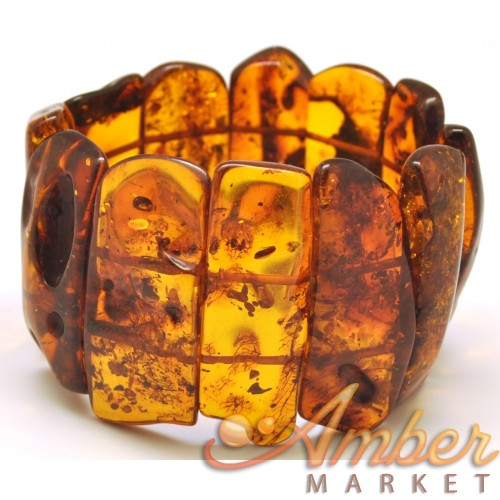 Natural shapes cognac Baltic amber bracelet