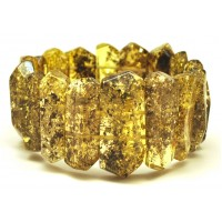 Faceted green Baltic amber bracelet