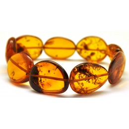 Cognac Baltic amber big beads bracelet