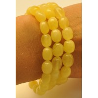 Lot of 3 yellow olive shape amber bracelets