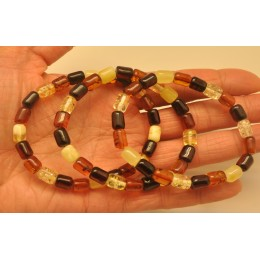 Lot of 3 multicolor barrel shape Baltic amber bracelets
