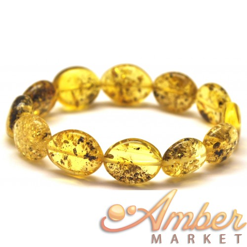 Button shape green Baltic amber bracelet