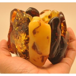 Massive natural shapes Baltic amber bracelet 180 g.