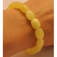 Yellow barrel shape Baltic amber bracelet