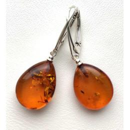 Cognac drop shape amber earrings 925