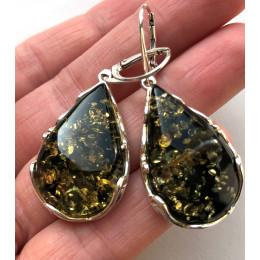 Green drop shape amber earrings