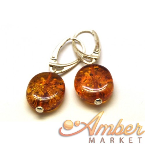 Round button shape Baltic amber earrings