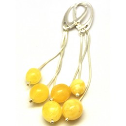 Long yellow Baltic amber olive earrings