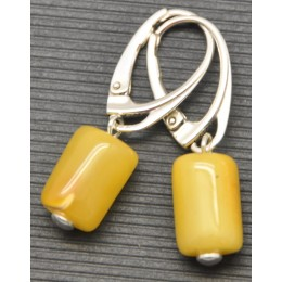 Barrel shape  vintage Baltic amber earrings