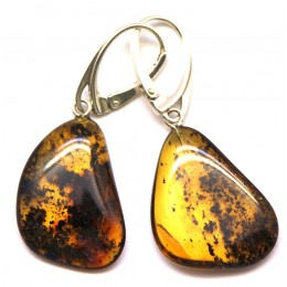 Natural shape Baltic amber earrings