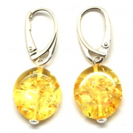 Button shape Baltic amber earrings