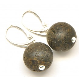 Raw healling round  Baltic amber earrings