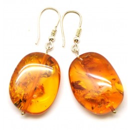 Big beads Baltic amber earrings