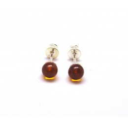 Round beads cognac Baltic amber earrings