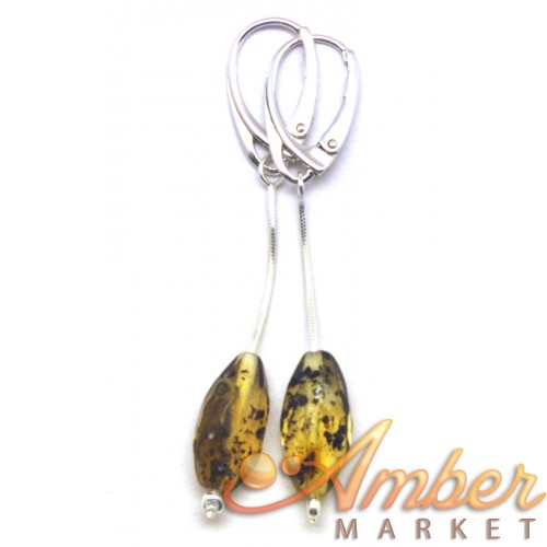 Long faceted Baltic amber olive shape earrings