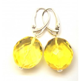 Faceted big beads Baltic amber earrings