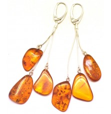 Long natural shape Baltic amber earrings