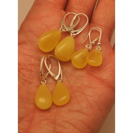 Lot of 3 drop shape amber earrings