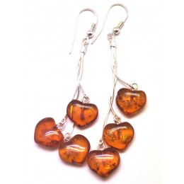 Long heart shape amber earrings