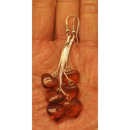 Long cognac heart shape amber earrings
