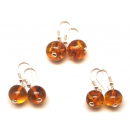 Lot of 3 baroque shape amber earrings
