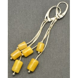 Barrel shape Baltic amber long earrings
