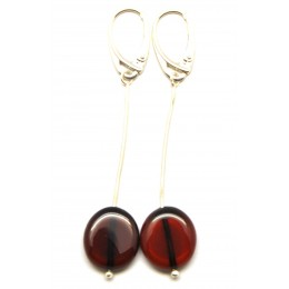 Button shape long cherry Baltic amber earrings