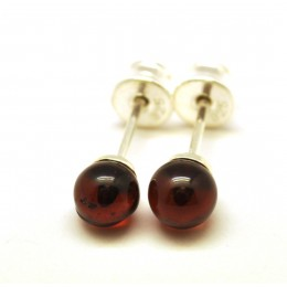 Cherry round beads Baltic amber earrings