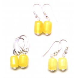 Lot of 3 barrel shape Baltic amber earrings