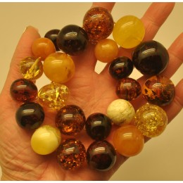 Massive multicolor baroque beads Baltic amber necklace 126 g.