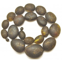 Big beads raw healing Baltic amber necklace 112 g.