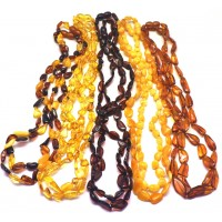 Lot of 10 Baltic amber beans necklaces