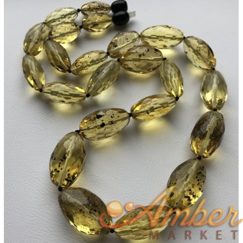 Natural green faceted amber olive necklace