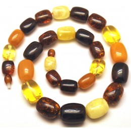 Barrel shape Baltic amber necklace 52 g .