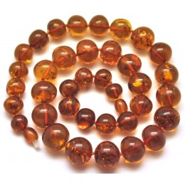 Baroque beads short cognac Baltic amber necklace