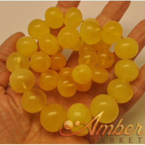 Natural yellow baroque beads amber necklace