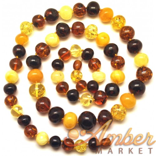 Baroque beads long Baltic amber necklace
