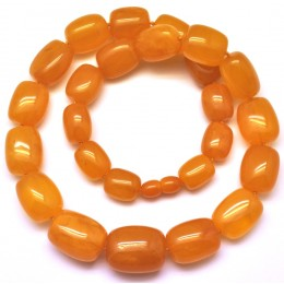 Barrel shape antique Baltic amber necklace